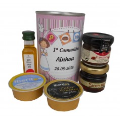 Lata con abre fácil con aceite de Oliva Vigen extra, mermelada, miel, queso azul y paté