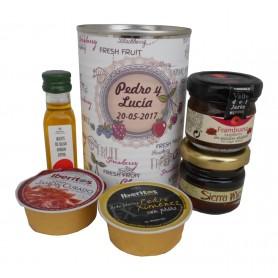 Lata con abre fácil con aceite de Oliva Virgen extra, mermelada, miel, crema jamón y paté