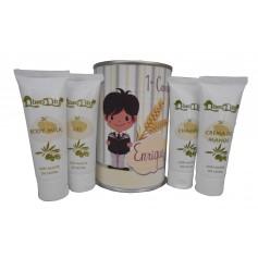 Lata cosmetico con crema de manos, Body Milk, champú y gel