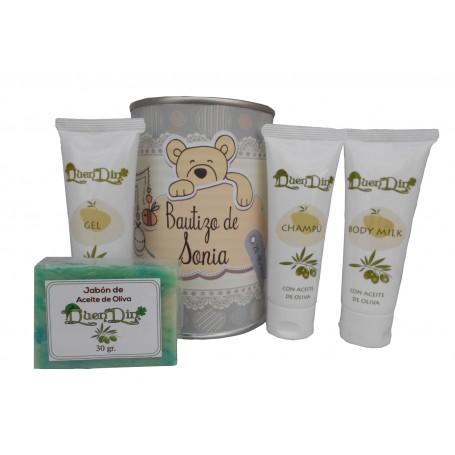 Lata cosmetico con productos de Aceite de Oliva, Gel, champu, Body Milk y pastilla de jabon
