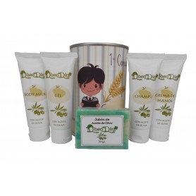 Lata cosmetico con productos de Aceite de Oliva, Gel, champu, Crema de manos, Body Milk y pastilla de jabon