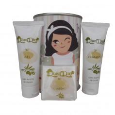 Lata cosmético con gel, champú y pastilla de jabón de Aloe Vera
