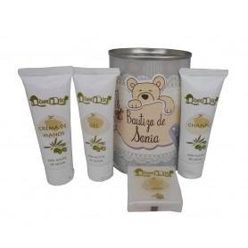 Lata cosmetico con productos de Aceite de Oliva, Gel, champu, Crema de manos y pastilla de jabon de Aloe Vera