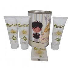 Lata cosmetico con productos de Aceite de Oliva, Body Milk, champu, Gel y pastilla de jabon de Aloe Vera