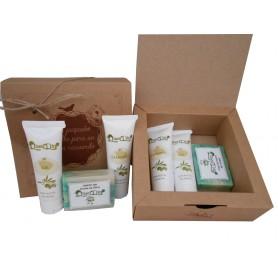 caja kratf con cosméticos de Aceite de Oliva gel, champu y pastilla de jabon