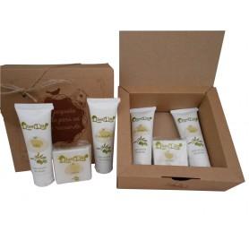 Caja kraft para detalles de invitados con cosmetica de Aceite de Oliva