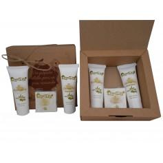 Caja kraft para detalles de boda con cosmetica de Aceite de Oliva, Body Milk, Crema de manos y pastilla jabon Aloe Vera