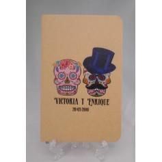 Libreta personalizada impresa con dibujo y texto para detalles invitados para boda