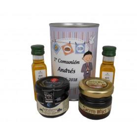 Lata con abre fácil con aceite de Oliva Virgen extra, mermelada y miel