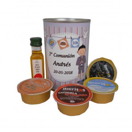 Lata con abre fácil con 1 bote de aceite de Oliva Virgen extra, paté y crema de queso azul