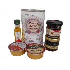Aceote de Oliva Virgen extra con crema de jamón, crema de torta, mermelada y miel en lata personalizada