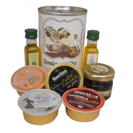 Lata personalizada con Aceite de Oliva Virgen extra, Aceite de Oliva Virgen ecologica, miel, pate y queso de cabra