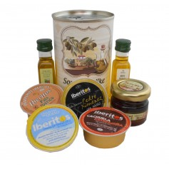 Lata personalizada con Aceite de Oliva Virgen extra, Aceite de Oliva Virgen ecologica, miel, pate y tarrina de queso azul