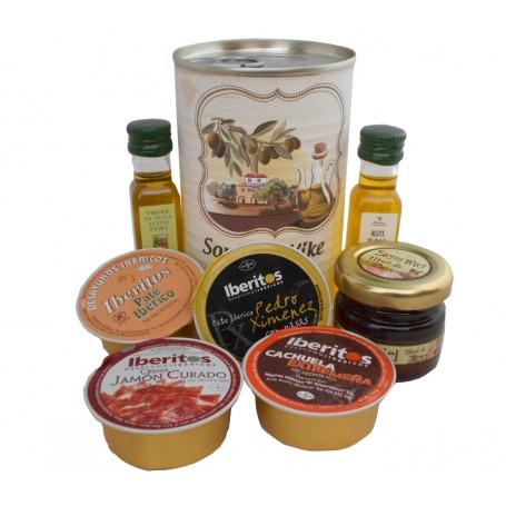 Lata personalizada con Aceite de Oliva Virgen extra, Aceite de Oliva Virgen ecologica, miel, pate y tarrina de crema de jamon