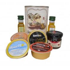 Lata personalizada con Aceite de Oliva Virgen extra, Aceite de Oliva Virgen ecologica, mermelada, pate y queso azul
