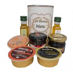 Lata personalizada con Aceite de Oliva Virgen extra, Aceite de Oliva Virgen ecologica, mermelada, miel y pate