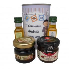 Lata con Aceite de Oliva Virgen extra, Aceite de Oliva Virgen ecologica, mermelada y miel