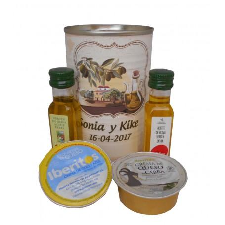 Lata personalizada con Aceite de Oliva Virgen extra, Aceite de Oliva Virgen ecologica, queso de cabra y queso azul