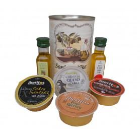 Lata personalizada con Aceite de Oliva Virgen extra, Aceite de Oliva Virgen ecologica, pate y queso de cabra