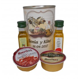 Lata personalizada con Aceite de Oliva Virgen extra, Aceite de Oliva Virgen ecologica, queso de torta y crema de jamon