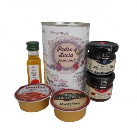 Lata personalizada con Aceite de Oliva Virgen extra, Mermelada, queso de torta y crema de jamon