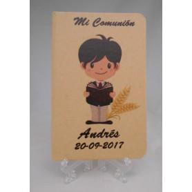 Libreta personalizada impresa con dibujo comunión niño y texto para detalles de invitados