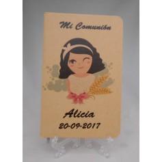 Libreta personalizada impresa con dibujo comunión niña y texto para detalles
