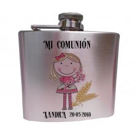Petaca para detalles de comunion niña, impresa con nombre/s y dibujo