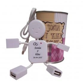Puerto USB de 4 en lata personalizada para detalles de invitados