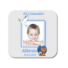 Posavasos impreso con foto para detalles de comunion niño