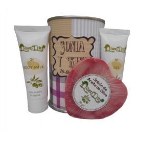 Lata cosmeticos con Aceite de Oliva, Gel, Body Milk y Jabón natural de Karité