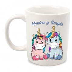 Taza unicornio pareja