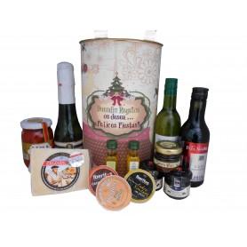 Lata personalizada para regalo Navidad con abre fácil con productos gourmet