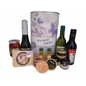 Lata personalizada para regalo mujer con abre fácil con productos gourmet