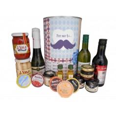 Lata personalizada con productos delicatessen para regalos hombre
