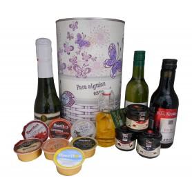 Lata con productos gourmet para regalo