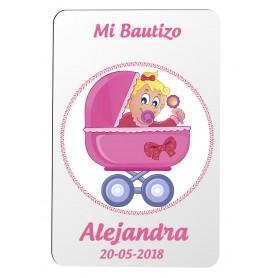 Iman personalizado para detalle de Bautizo niña con dibujo cochecito