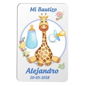 Iman personalizado para detalle de Bautizo niño con dibujo Jirafa
