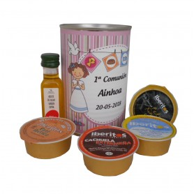 Lata personalizada con Aceite de Oliva Virgen Extra, paté y queso azul