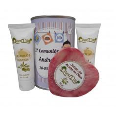 Lata cosmeticos con Aceite de Oliva, Crema de manos, Body Milk y Jabón natural de Karité