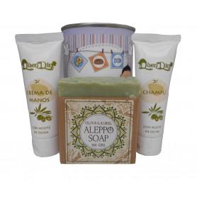 Lata de cosméticos con crema de manos, champú y jabón atesano de Alepo para tus detalles
