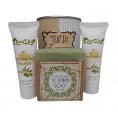 Lata de cosméticos con crema de manos, Body Milk y jabón artesano de Alepo para tus detalles