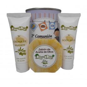 Lata de cosméticos con crema de manos, body Milk y jabón artesado Pomelo