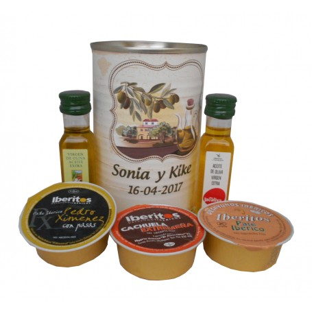 Detalle gourmet aceite de Oliva Virgen extra, Aceite de Oliva ecológica y paté en miniatura