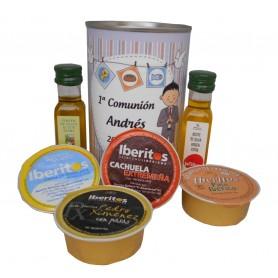 Lata personaliza con abre fácil con aceite Virgen extra, Aceite de Oliva Ecológica y queso azul y paté