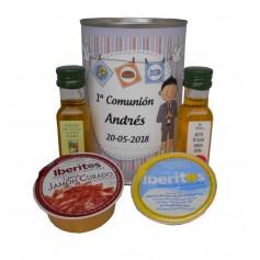 Lata personaliza con abre fácil con aceite Virgen extra, Aceite de Oliva Ecológica, crema de jamón y queso azul para invitados