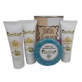 Lata de cosméticos con crema de manos, body Milk, gel y jabón esponja para tus detalles de invitados