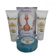 Lata de cosméticos con crema de manos, body Milk y jabón esponja marina para tus detalles