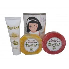 Lata de cosméticos con body Milk, jabón artesado Pomelo y jabón con esponja