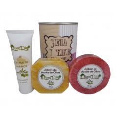 Lata de cosméticos con crema de manos, jabón artesano Pomelo y jabón con esponja para detalles de invitados